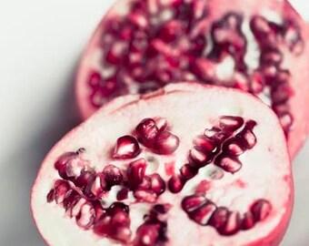 Pomegranate Print, Red White Kitchen Wall Art, Food photography, Rustic Kitchen Decor, Still Life