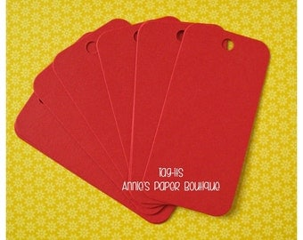 Red Hang Tags {25} - Parcel, Gift, Gift Giving, Cardstock, Blank Tag, Shipping, Inventory, Package, Treats, Favors, Showers