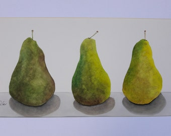 Original Watercolor Painting Three Pears
