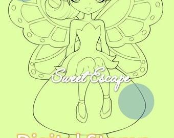Fairy & mushroom digital stamp