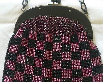 Vintage Art Deco Black Pink Beaded Bakelite Formal Evening Flapper Bag Purse