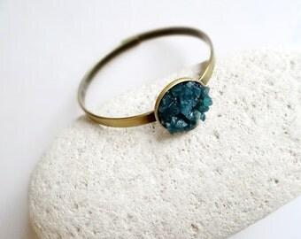 Apatite Bracelet, Blue Apatite Bangle Bracelet, Gemstone Cuff Bracelet, Bohemian Bracelet