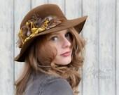 Wide Brim Hat / Floppy Boho Hat / Rustic Brown Autumn Gold