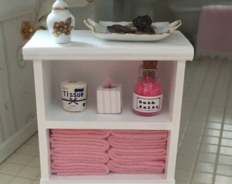 Miniature White Decorated Bathroom Cabinet, Dollhouse 1:12 Scale Miniature, Wood Cabinet with Pink Towels, Tissue, Toilet Paper