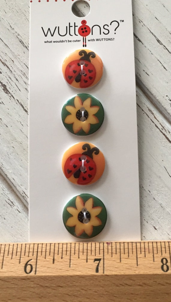 Ladybug and Sunflower Buttons Wuttons Collection by Blumenthal Lansing Carded Set of 4 Buttons