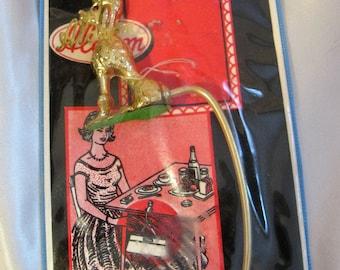 Vintage 1950s Goldtone Poodle Table Hand Bag Hanger, Unused in Package, Red Rhinestone Eyes Purse Holder