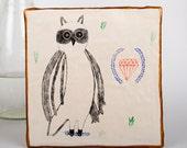 Pencil Original Illustration, Owl Gift, Air Dry Clay, Mixed Media Art, Ceramic Wall Ornament, Hanging Sculpture, Handmade, Valentine's Day
