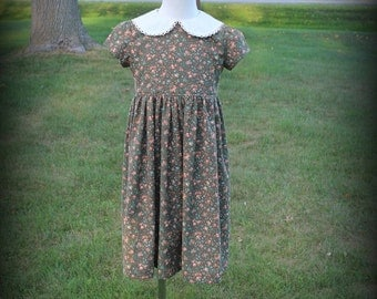 Girl's 1950's Summer Dress Brown Calico Size 5 -Ready to Ship
