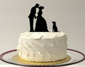 INCLUDE YOUR DOG Silhouette Wedding Cake Topper Dog Pet Family of 3 Wedding Cake Topper Bride and Groom Cake Topper