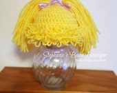 Ready to Ship, Crochet Newborn Baby Girl Cabbage Patch Kid Hat, Photo Prop, Shower Gift, Blonde, Yellow Beanie, Pig-tail cap,