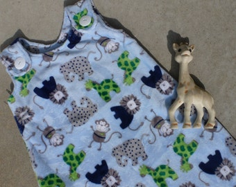 Maryjane Sleep Sack - Light Blue Minky with Lions, Elephants, and Giraffes