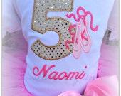 Ballerina Number Birthday Shirt