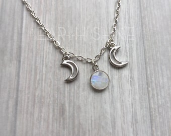 Rainbow Moonstone Triple Goddess necklace, Made to Order