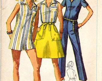 1960s Slim Leg Jumpsuit Romper Wrap Skirt Pattern - Vintage Simplicity 7546 - Bust 34