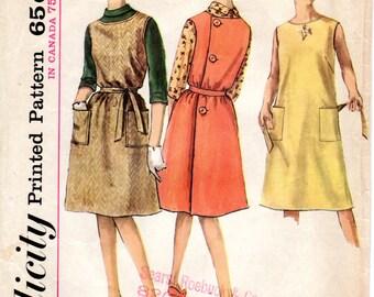 1960s Back Wrap Around Dress Jumper & Blouse - Vintage Pattern Simplicity 5028 - Bust 30
