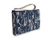 Wristlet Clutch Purse Zipper Pouch Bag Leather Strap Navy Bondi Swimmer Screenprinted Design Handmade Gift For Her Pochette Mothers Day