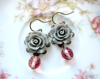 Burgundy Earrings Flower Drop Earrings Burgundy Jewelry Drop Flower Earrings Grey Rose Earrings Fall Wedding Jewelry Flower Dangle Earrings