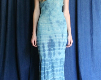 1930's Silk Dress Slip / Tie Dye Indigo Blue / Dyed Silk Dress / Ethereal Festival Dress / Thirties Nightgown / On Trend / 30's Dress