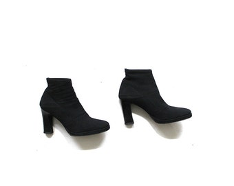 Vintage Ankle Boots 7 / Black Sock Boots / DKNY Ankle Booties / Minimal Shoes