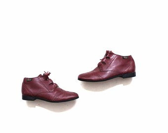 FLASH SALE Vintage Ankle Boots 6.5 / Oxblood Leather Boots / Lace Up Booties