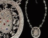 Huge Zodiac Necklace - Big Mystical Medallion Pendant - Statement Necklace - Large Silver Boho Hippie Astrology Sign Jewelry - Vintage 70s