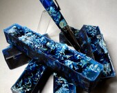 Handmade Craft Supplies Cast Single Barrel Pen Blanks Potpourri Grade Botanical Chrysanthemum Flowers In Blue Resin