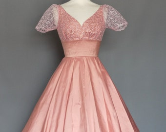 Dusky Pink Silk & Lace Tea Dress - Made by Dig For Victory