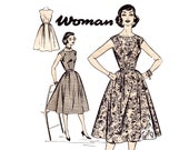 50s Full Skirt Dress Pattern Woman W3 Vintage Sewing Pattern Bust 36 inches