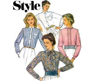 80s High Neck Blouse Pattern Style 3951 Romantic Steampunk Tie Neck Blouse Vintage Pattern Size 12 14 16 Bust 34 36 38 inches UNCUT FF