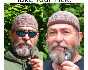 Mens Cotton Chemo Cooling Cap™ Crocheted in Chocolate Twist + Optional Chocolate Band
