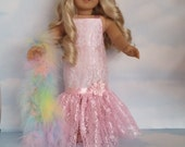 Last One! - 18 inch doll clothes - Light Pink Lace Gown and Boa handmade to fit the AmericaDn Girl Doll - FREE SHIPPING