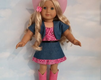 18 inch doll clothes -#714  PINK Cowgirl Outfit and Boots