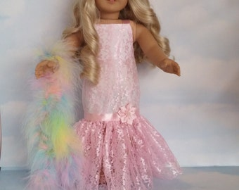 18 inch doll clothes - Light Pink Lace Gown and Boa handmade to fit the AmericaDn Girl Doll - FREE SHIPPING