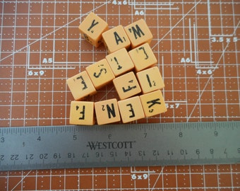 15 Vintage Letter Dice Game Dice Letter Cubes Cream Colored Dice