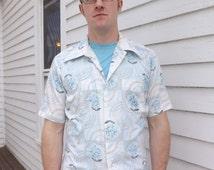 Vintage Mens Floral Shirt White Blue Print Short Sleeve Button Down Retro M