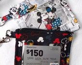 Disney Mickey & Minnie Mouse,Souvenier Pin ID Holder with Lanyard,Disney World Pass Holder,DisneyLand Amusement Park,Quilted Coin Purse