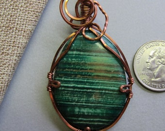 Green Cabochon Stone wire wrapped Pendant necklace w Antique Copper nontarnish wire, watercolorsnmore copper green