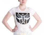 Transformers Autobot insignia tee by MITMUNK - women's white burnout crew neck t-shirt