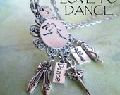 Ballet Charm Necklace, Dance, Love, Dancing Jewelry, Girls, Teens, Womens, Personalized, Initial, Letter Charm, Birthday Gift