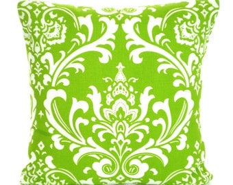 Green White Damask Pillow Cover, Decorative Throw Pillows, Cushions, Lime Green White Damask Pillows Couch Bed Sofa Pillows ALL SIZES
