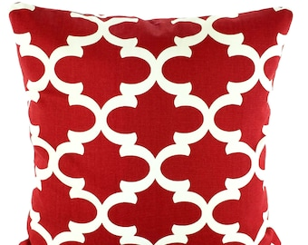 Red Cream Pillow Covers Decorative Throw Pillows Cushions, Red Off White Fynn Moroccan Quatrefoil, Red Couch Cushions 12 x 16