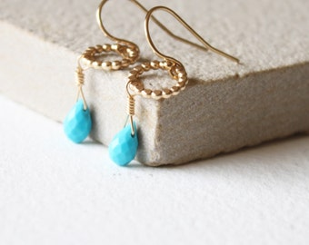 Dainty gold Amelia Turquoise earrings, gold drop earrings, minimal dainty earrings, delicate earrings, gift for her, december birthstone