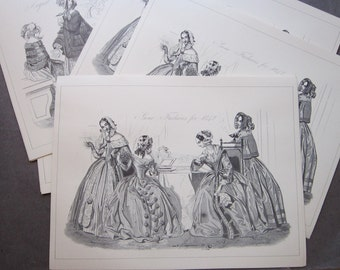10 vintage Godey Fashion prints - reproduction prints - 5 each in 2 styles - for collage, display, etc