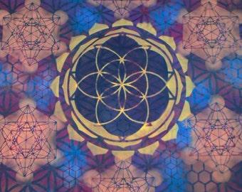 XL Seed of Life Metatron's Cube Mandala Hand Painted Sacred Geometry Chakra Tee w/ Lotus Petals, Flower of Life, Honeycomb, Metatron's Cube