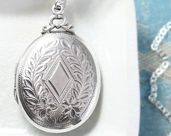 Vintage Sterling Silver Locket Necklace, Large Oval Rare Laurel Engraved Plain Diamond Photo Pendant - Crowned with a Bow
