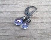 Mystic Tanzanite boucles d'oreilles, fil d'argent Sterling enveloppé boucles d'oreilles bleu