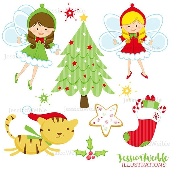 Christmas Angels Cute Digital Clipart, Christmas Clip art, Christmas Fairy, Digital Graphics, Christmas Tree, Stocking, Cookie, Cat