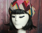 Beret Hat Multi Color Abstract Knit, French Beret Hat, Patchwork Beret Hat, Knit Beret, Winter Hat