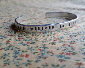The Villain In Your History Aaron Burr Hamilton Musical Inspired Handstamped Aluminium Cuff Bracelet