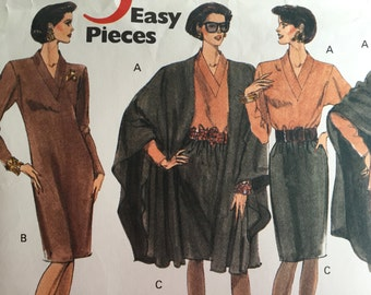 Vogue 's 5 Easy Pieces 2552 Cape, Dress, Top, Skirt and Pants. V-Neck sewing pattern Size 14,16,18